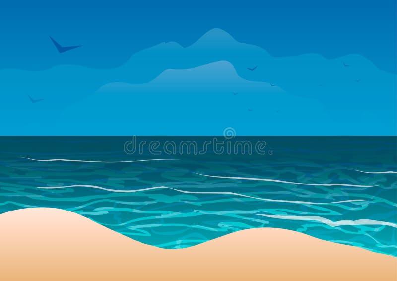 海洋海岸沙子海滩 库存例证