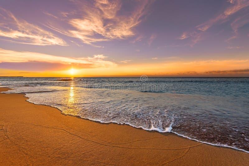 海洋海滩日出 库存照片