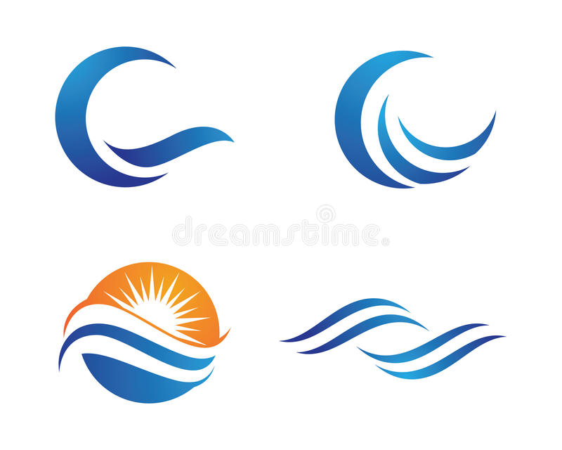 海洋海滩波浪商标 库存例证