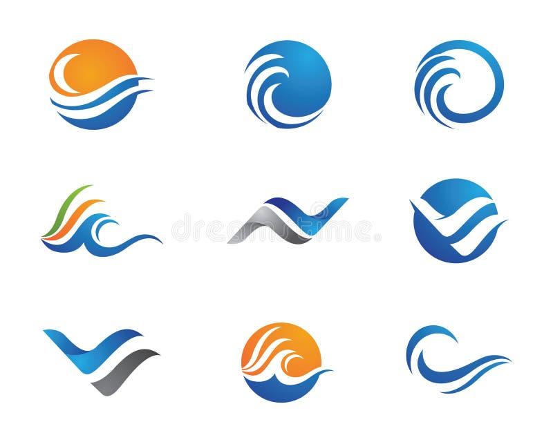 海洋海滩波浪商标 向量例证