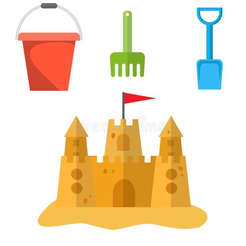 海滩玩具和沙子城堡 皇族释放例证