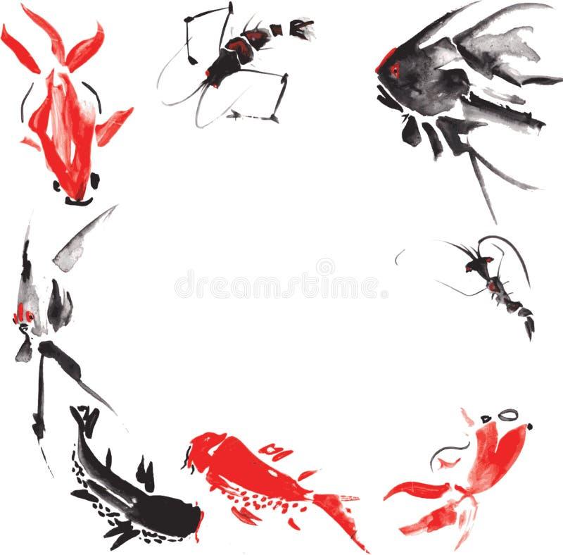 海洋生物例如-虾,神仙鱼,大理石鲤鱼,金鱼 向量例证