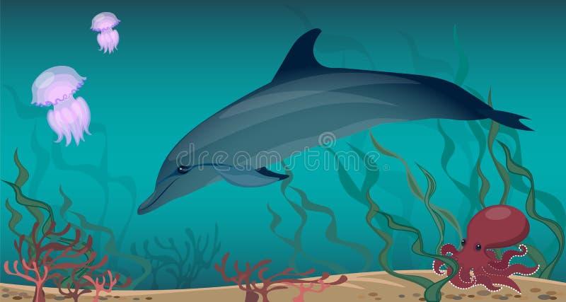 海洋生物海豚水母章鱼珊瑚海藻 桑迪底部 库存例证
