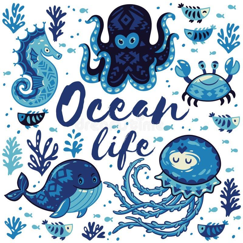 海洋生活 与逗人喜爱的动物的可爱的卡片在船舶样式 皇族释放例证