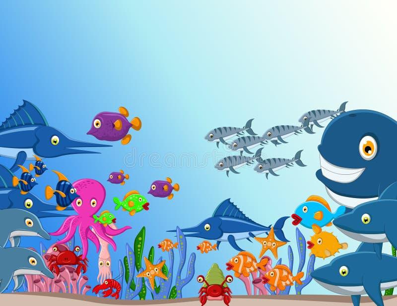 海洋生活动画片背景 皇族释放例证