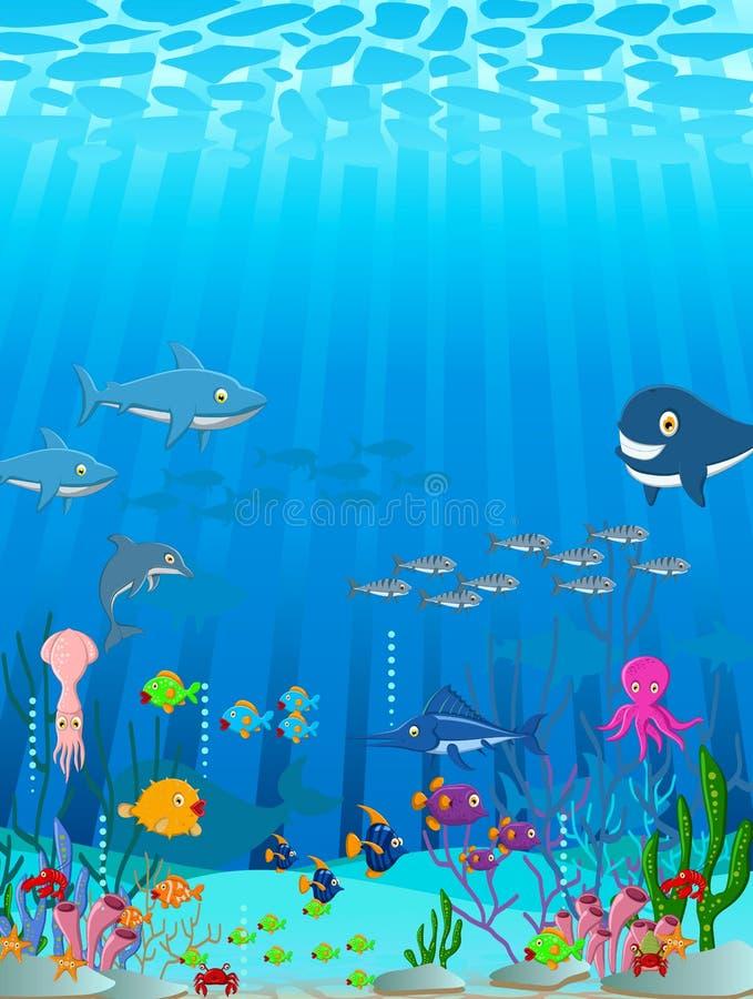 海洋生活动画片背景 库存例证