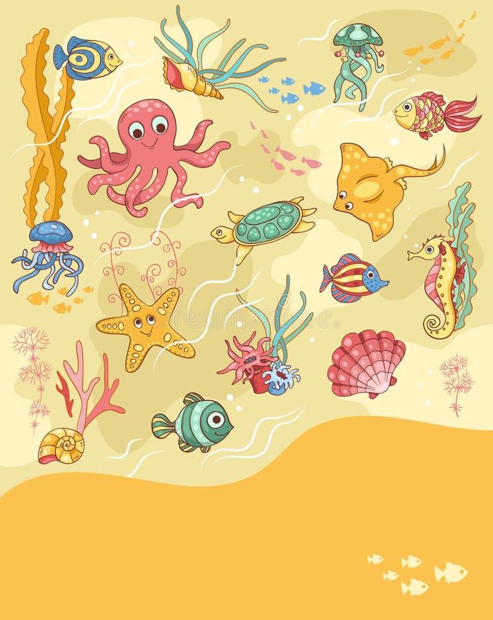 海洋生活卡片黄色 向量例证