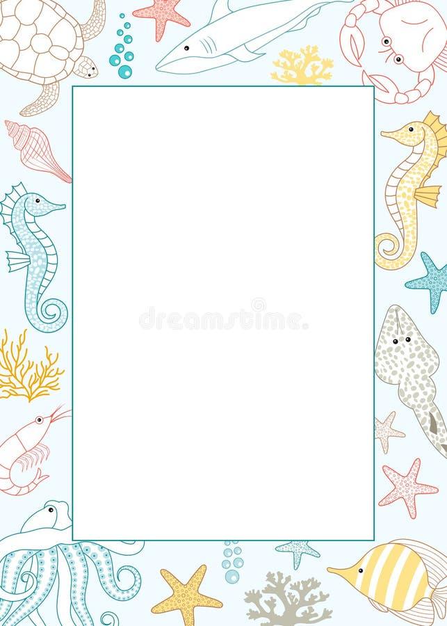 海洋生活卡片 皇族释放例证