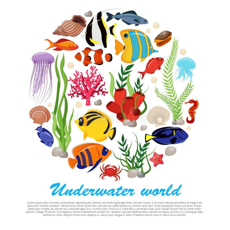海洋生活海报 库存例证