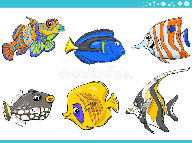 海洋生活被设置的鱼字符 库存例证