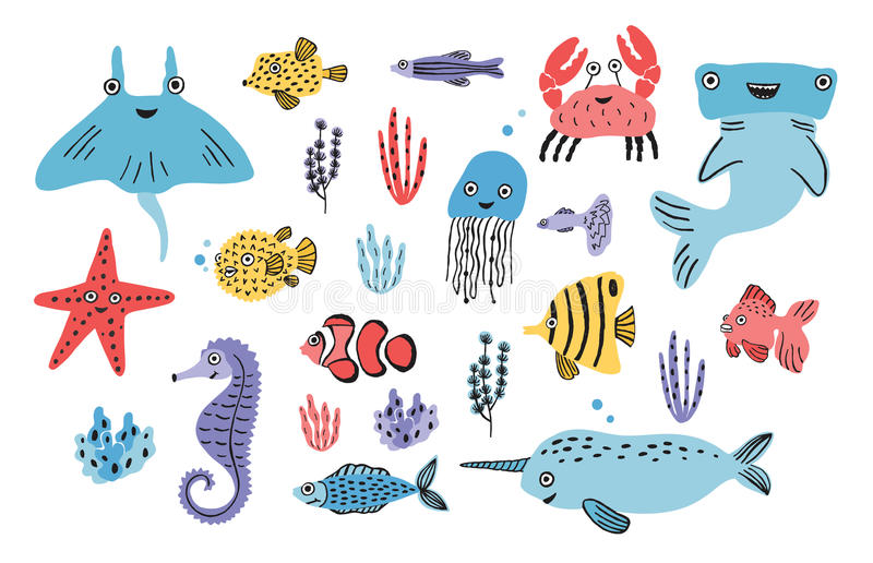 海洋生活集合 手拉的海藻,河豚,水母,螃蟹,双髻鲨,鲸鱼,海星,鲨鱼,海象,披巾 皇族释放例证