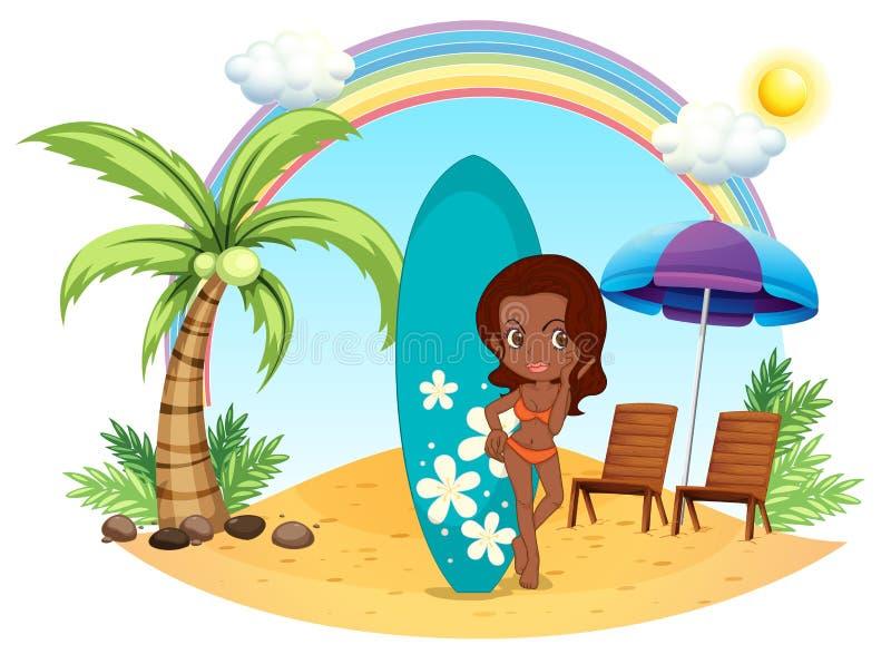 海滩的一个女孩与她的蓝色水橇板 向量例证
