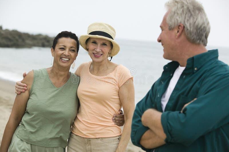海滩的三个朋友 库存照片