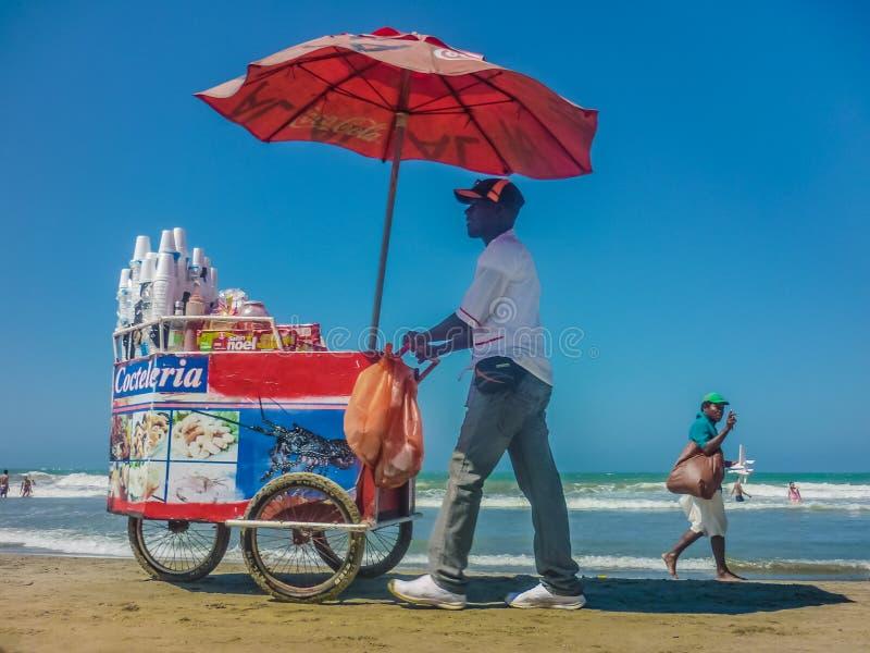 海滩的传统哥伦比亚的供营商 库存照片