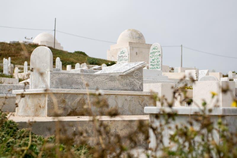 海滩的公墓 马赫迪耶 突尼斯 免版税库存照片