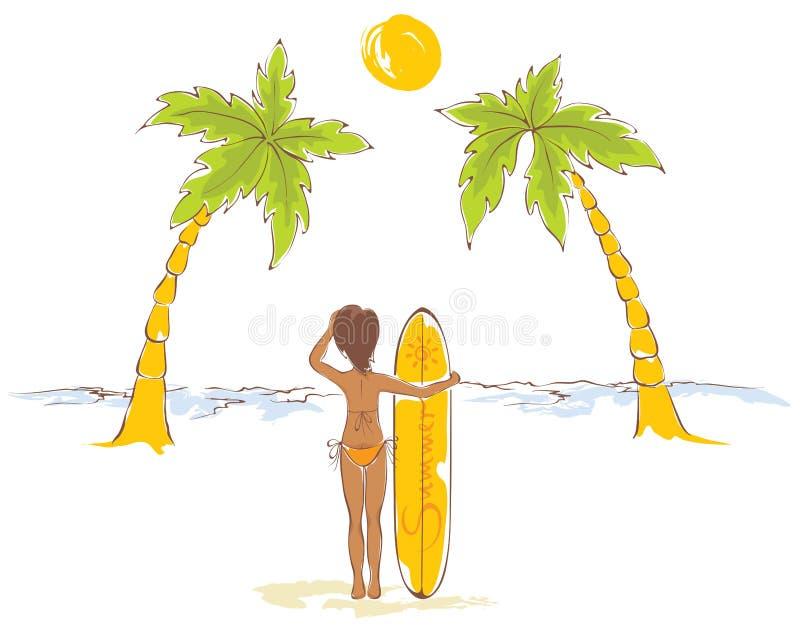 海滩的冲浪者女孩 库存例证