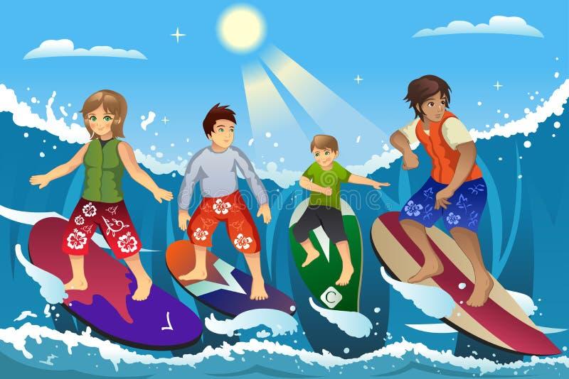 海滩的冲浪者 向量例证