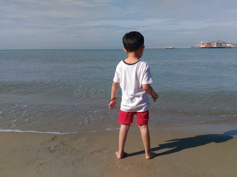 海滩的孩子男孩 免版税库存图片