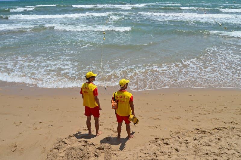 海滩的救生员 库存图片