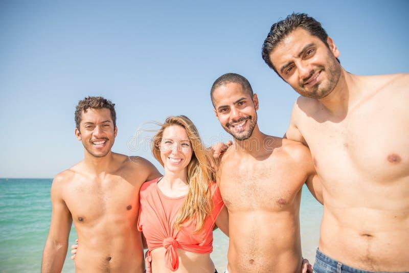 海滩的朋友 库存照片