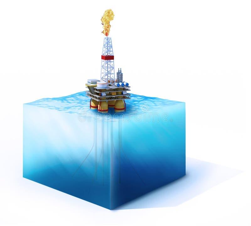 海洋的横断面有石油平台的 皇族释放例证