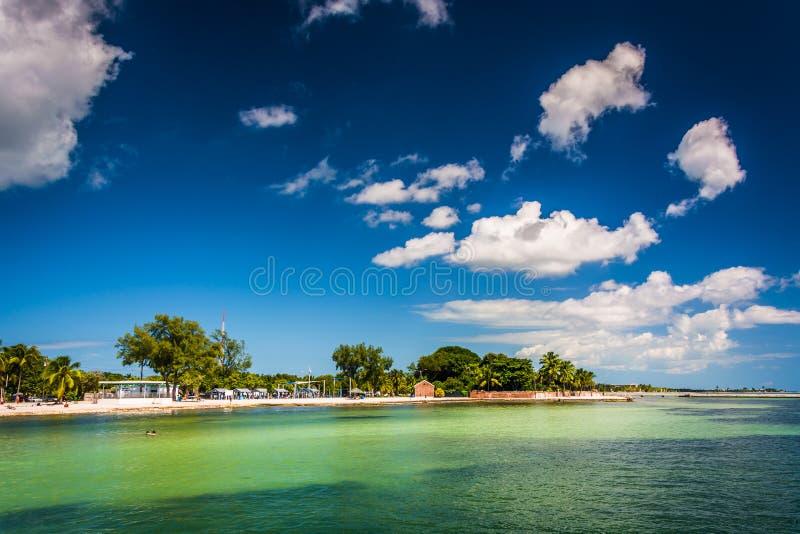 海滩的看法在基韦斯特岛,佛罗里达 图库摄影