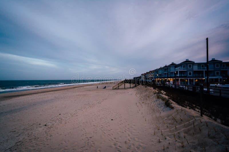 海滩的看法在Bethany海滩,特拉华的 免版税库存照片