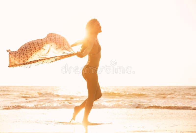 海滩的美丽的愉快的妇女在日落 免版税库存照片