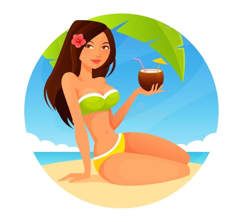 海滩的逗人喜爱的动画片女孩 向量例证