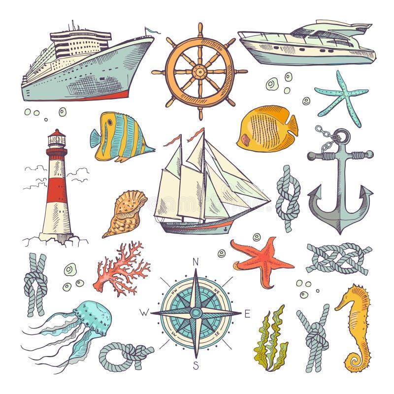 海洋着色乱画设置了与另外船舶元素、指南针和灯塔 水下的动物传染媒介集合 库存例证
