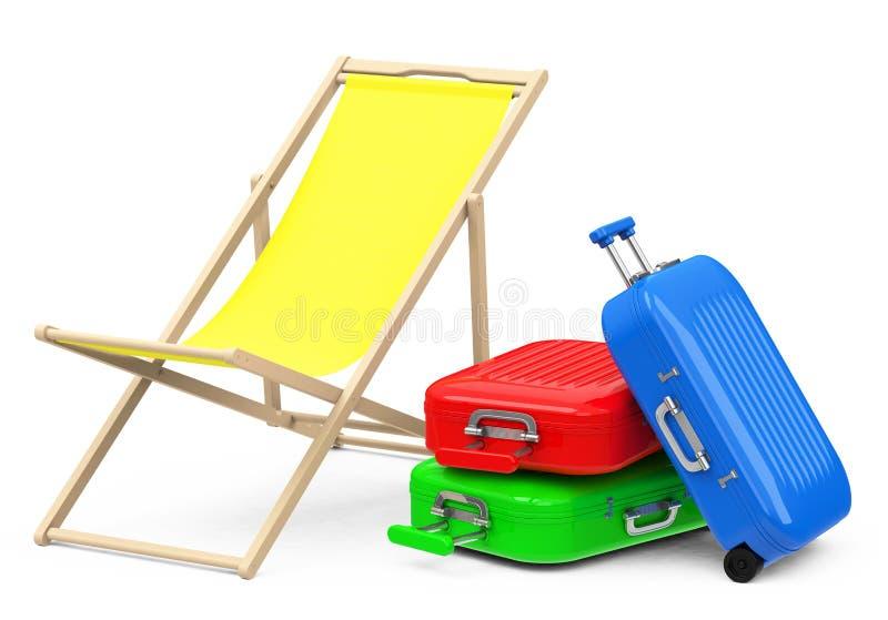 海滩睡椅和行李 库存例证