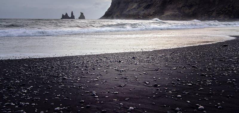 海滩黑色冰岛 图库摄影