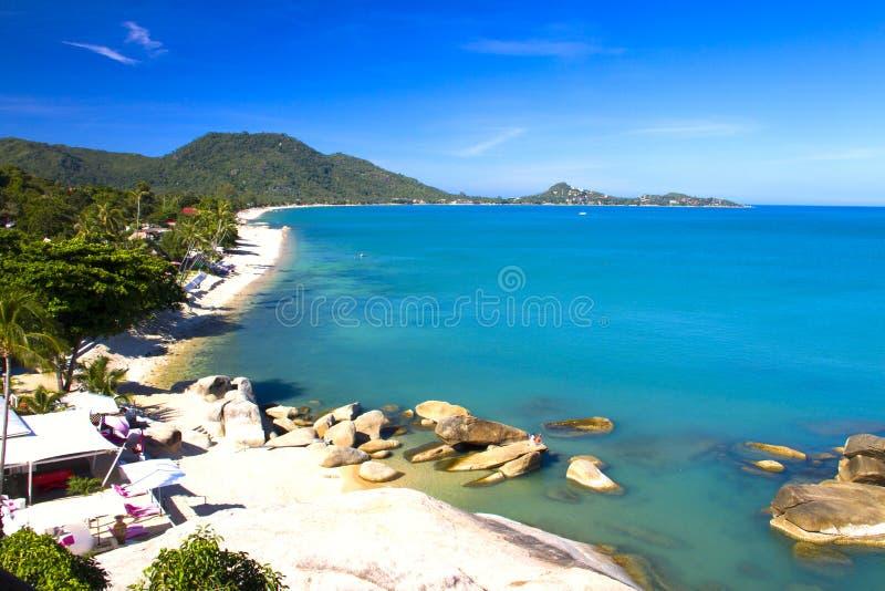 海滩视图苏梅岛海岛早晨 免版税图库摄影