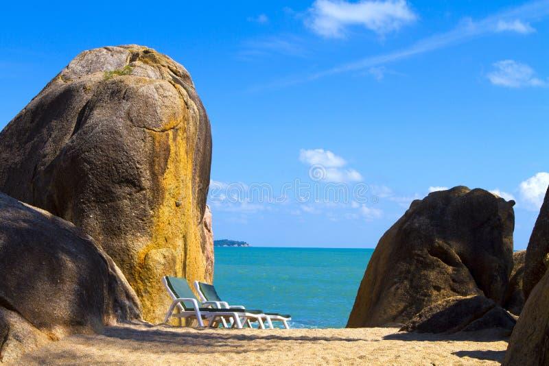 海滩视图苏梅岛海岛早晨 库存图片