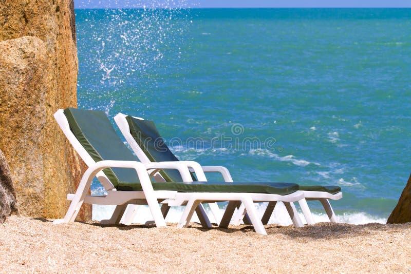 海滩视图苏梅岛海岛早晨 免版税库存图片