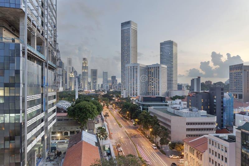 从海滩路的新加坡都市风景 免版税库存照片