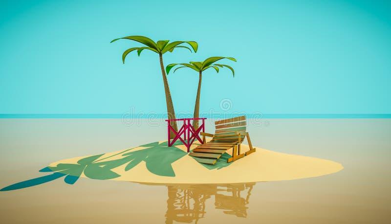 海滩躺椅在棕榈树下 动画片3d例证 库存图片