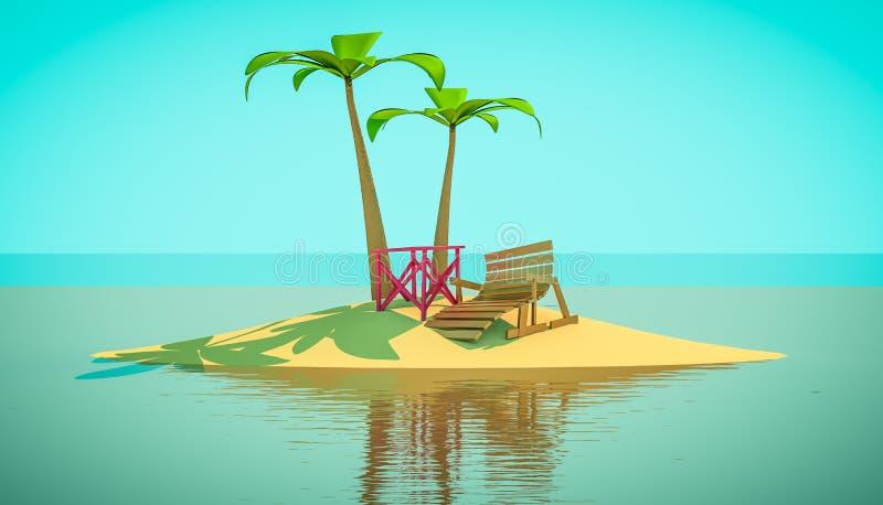 海滩躺椅在棕榈树下 动画片3d例证 免版税库存图片