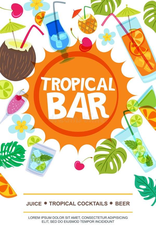海滩酒吧传染媒介菜单或飞行物布局 太阳、棕榈叶和鸡尾酒乱画例证 向量例证