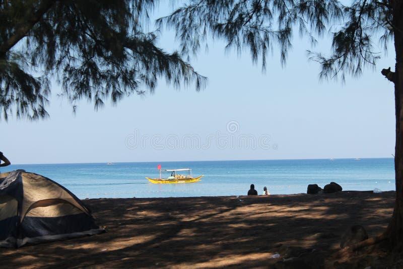 海滩野营 库存图片