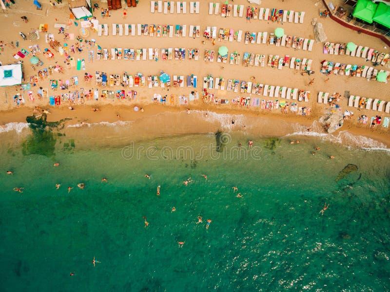 海滩顶视图  沙滩鸟瞰图与游人的游泳 免版税库存照片