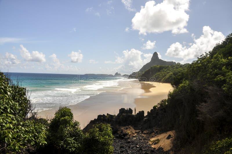 海滩预示,费尔南多・迪诺罗尼亚群岛(巴西) 库存照片