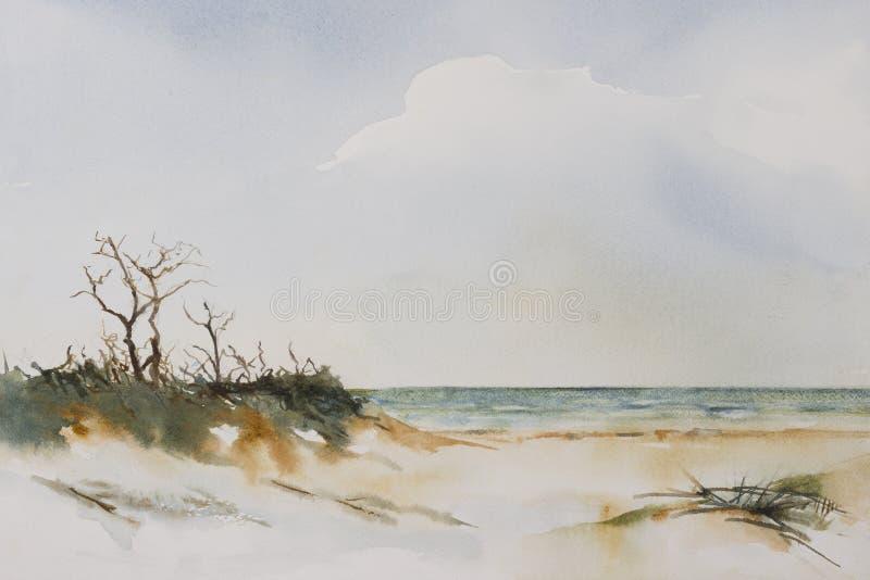 海滩风景水彩 库存例证