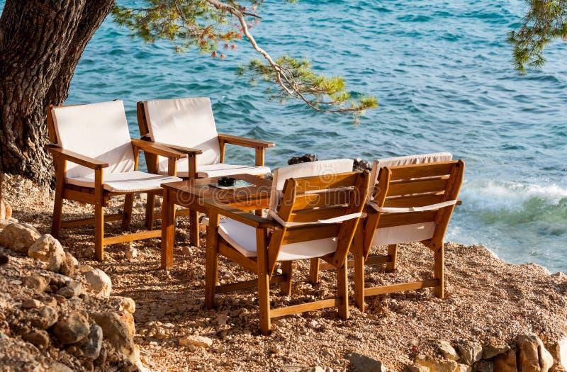 海滩餐馆克罗地亚 免版税库存图片