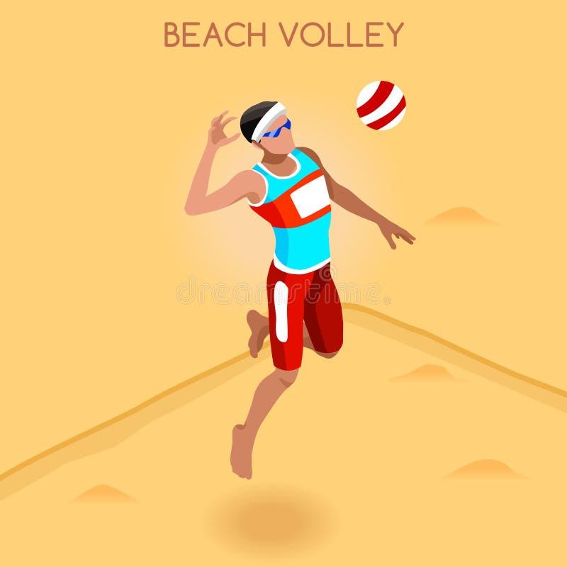 海滩齐射球员夏天比赛象集合 3D等量沙滩排球 体育冠军国际海滩齐射 皇族释放例证
