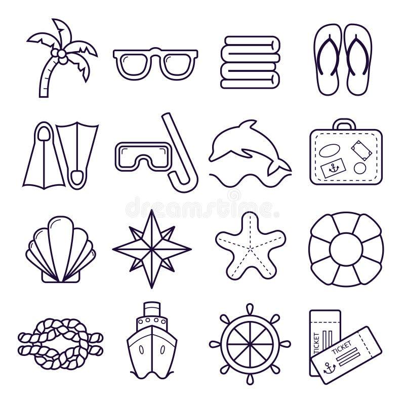 海滩,手段线象 棕榈、太阳镜、触发器、潜水的面具、壳和其他假日元素 库存例证