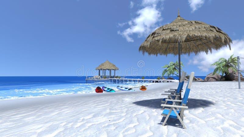 海滩 皇族释放例证