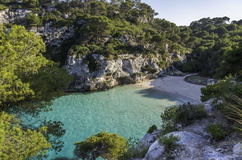 海滩Cala Macarelleta, Menorca,巴利阿里群岛,西班牙 库存图片