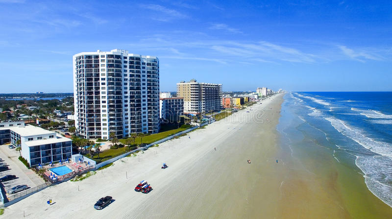 海滩daytona佛罗里达 美好的鸟瞰图 库存照片