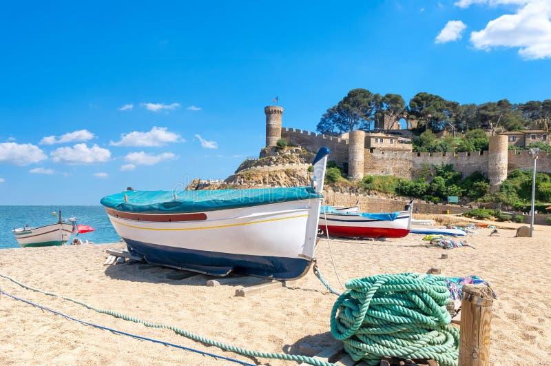 海滩de 3月tossa 肋前缘Brava,卡塔龙尼亚,西班牙 免版税库存图片